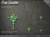 Necklace - Lost Eden Gold Cross With Turquoise Stones