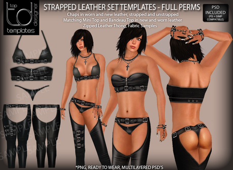 TD TEMPLATES Strapped Leather Set Templates PNG & PSD FILES  - FULL PERMISSIONS