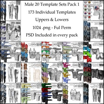 [NB] Inc. Male Template Inventory Pack 1- 20 Template Sets! Over 130 Individual Templates! Over 25 PSD!