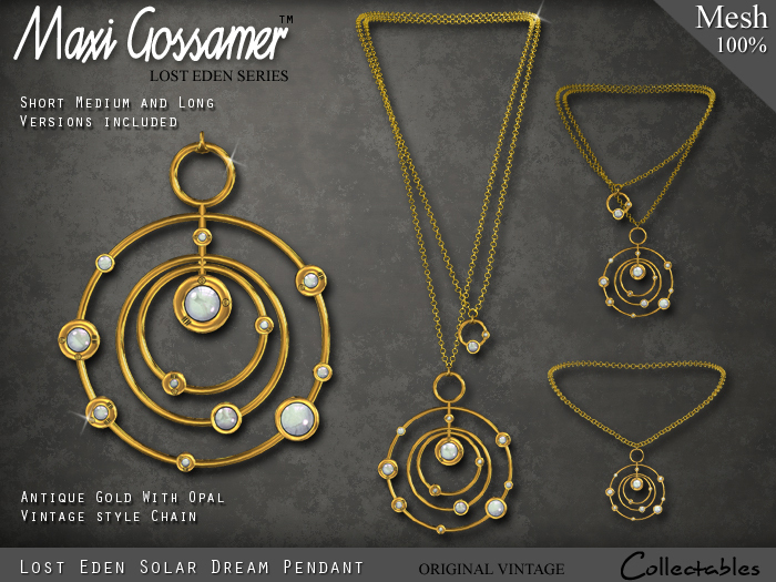 Necklace - Lost Eden Gold Solar Dream With Opal