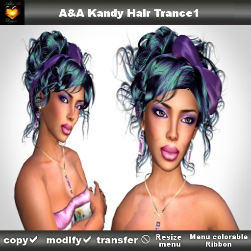 A&A Kandy Hair Color Trance1 (curly updo with menu colorable Ribbon),  marketplace special color!