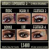Amacci Favourite Eyelashes, Set 3, 6-pack