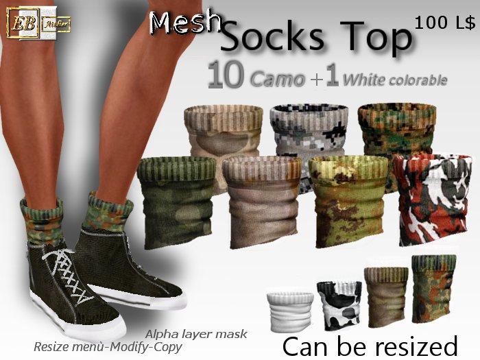 EB Atelier- 11 Mesh_Socks Top Camo RESIZE & MODIFY -Wear it quickly- italian designer