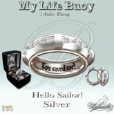 My Life Buoy - Silver - Male Ring - Gift Box -B