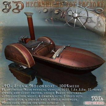 ~JD~ Steam Motorboat 100% mesh physical steam watercraft