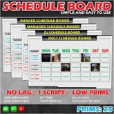 SCHEDULE BOARD / STAFF SCHEDULER / DJ, HOST, DANCER, MANAGER
