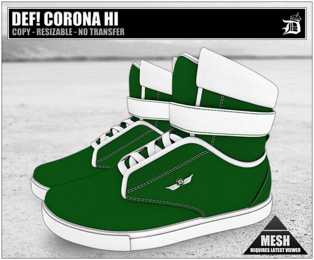 DEF! Unisex Sneakers / Corona / Hi / Green (100% Mesh)