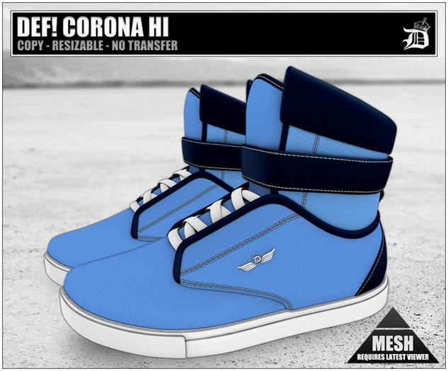 DEF! Unisex Sneakers / Corona / Hi / Blue (100% Mesh)