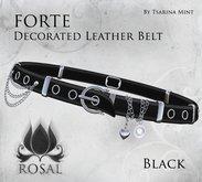 ROSAL - FORTE Decorated Leather Belt - Black