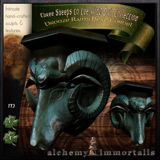 Bronze Ram's Head Corbel [C-M-nt]  (WAS $145 -> NOW ONLY $40!)