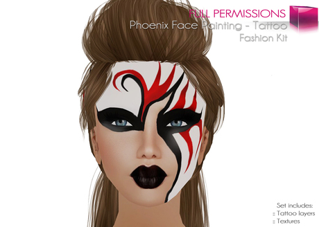 Second Life Marketplace Full Perm Female Phoenix Face Painting Bom Bake On Mesh Face Tattoo Set Fashion Kit