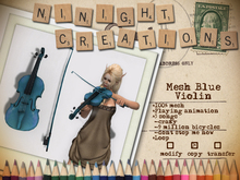 NN Mesh Blue Violin with 3 songs and playing animation