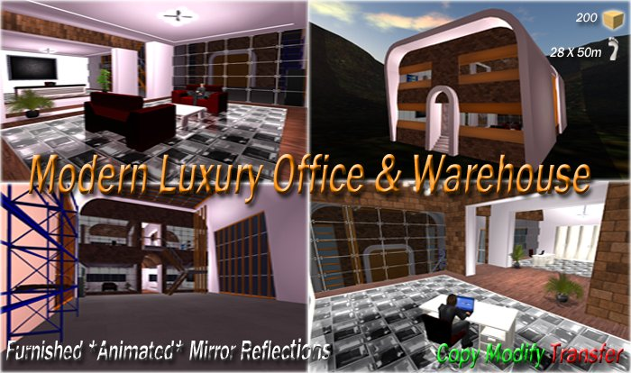 Modern Luxury Office with Warehouse Furnished Animated with Mirror Reflections, Lockable Doors & Reception Desk