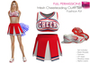 Full Perm SAVE 4 IN 1 Cheerleading Uniform Pleated Mini Skirt Crop Sports Top Sports Shoes Pompom