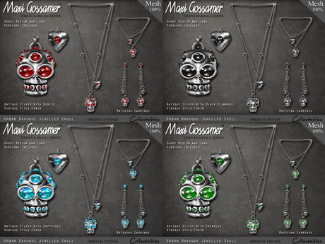 Necklace - Jewelled Skull And Heart Necklace Set - Silver - FATPACK