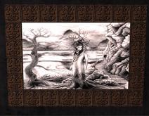 box tableau femme noir blanc bois