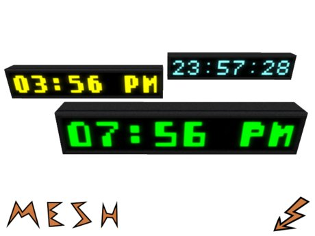 Digital Mesh Clock with 3 pixelstyle Fonts in every color