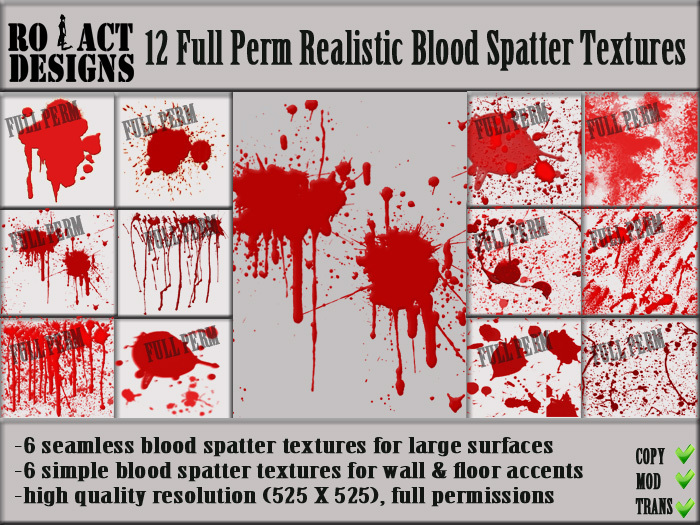 Second Life Marketplace Ro Act Designs 12 Blood Spatter Full Perm Alpha Textures Gtagarage » misc » textures » realistic blood. blood spatter full perm alpha textures