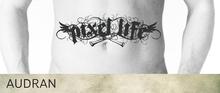 AUDRAN Unisex Stomach Torso Navel Tattoo 'Pixel Life' Thug Life Gangsta
