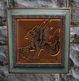 Framed Embossed Copper Dragon
