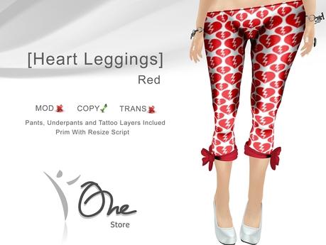 :: One Store :: [Heart Leggings] Red BOX