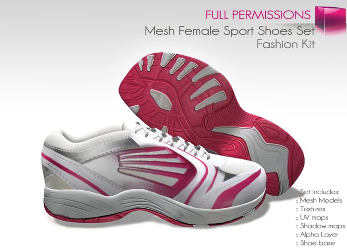 FULL PERM NON RIGGED Ladies Pink and White Sports Shoes Runners Sneakers