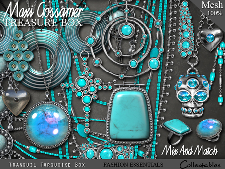 Jewellery Treasure box - Tranquil Turquoise - Necklaces, Rings, Earrings, Bangles
