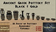 Ancient Greek Pottery Set - Black & Gold