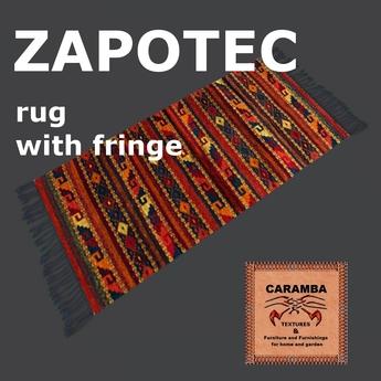 Native Indian Zapotec Rug Steps With Fringe