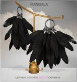 [MANDALA]Leather Feather earring/Black (WEAR ME)