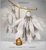 [MANDALA]Leather Feather earring/White (WEAR ME)
