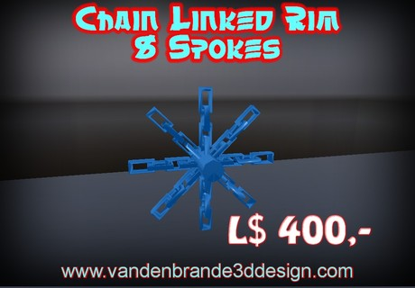 LOWERED PRICE! Chain Linked rim 8 spokes FULL PERM FOR BUILDERS!
