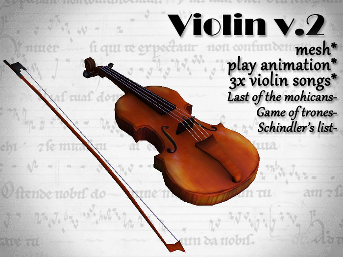 Violin Mesh with 3 songs and playing animation V.2