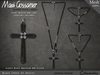 Necklace - Cross of Assisi - Silver and Black Obsidian