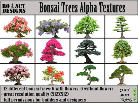 Second Life Marketplace Ro Act Designs 12 Bonsai Trees Alpha Textures
