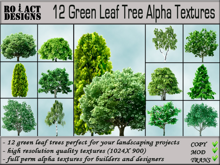Second Life Marketplace Ro Act Designs 12 Green Leaf Trees Alpha Textures