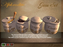 Aphrodite jars set with coffee, honey, sugar & cookies!