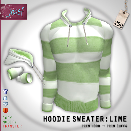 Second Life Marketplace Mens Hoodie Sweater in Lime Green
