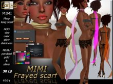EB Atelier * MIMI * Flexy frayed long scarf w/HUD -- italian designer