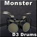 Drums.  D3 Monster Drumset.  Lights, Flames