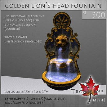 Trompe Loeil - Golden Lion's Head Fountain [mesh]