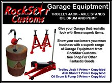 GARAGE EQUIPTMENT TROLLEY JACK - AXLE STANDS- OIL PUMP BOXED