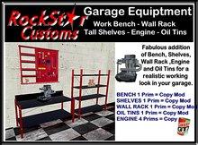 GARAGE SHELVES - WORK BENCH - WALL SHELF TOOL RACK - ENGINE - OIL TINS