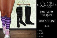 Waffle! Knee Socks Twinpack - Plain/Striped [black]