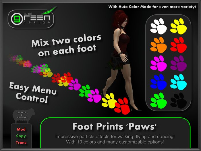 ●GD● Foot Prints 'Paws' [Multi Color, Walk/Fly/Dance] Customizable Paw Prints Walking Effect