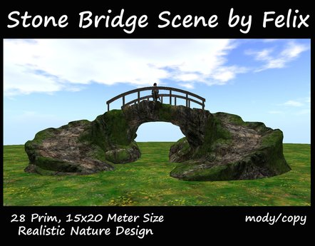 Bridge Stone Scene by Felix (for river garden waterfall grotto cave cavern tree plant landscaping home pond pathway )