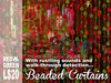 Scripted Red and Green Beaded Curtains