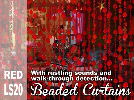 Scripted Red Beaded Curtains