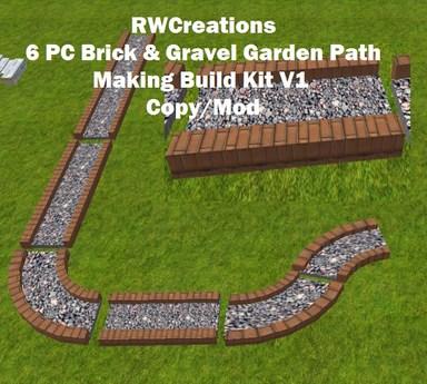 Second Life Marketplace 6 Pc Brick Gravel Garden Path Making
