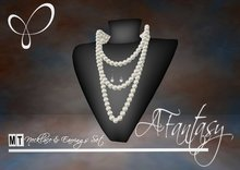 AFantasy Triple Strand White Pearl Necklace & Earrings Set